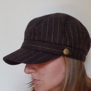 Brown, pin-striped newsie hat